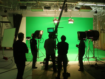 LMA Studio green screen stage. We shot on the RED ONE. First time I've seen one out of the box. It's way cool.