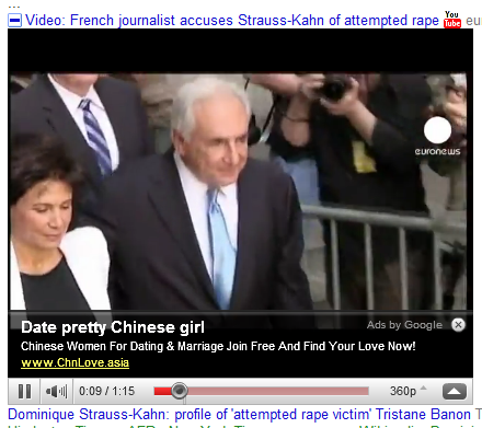 Google Ad in Strauss-Kahn rape video offers dating service for pretty Chinese girls